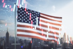 Double exposure of abstract virtual global crisis chart and world map hologram on USA flag and blurry cityscape background. Financial crisis and recession concept