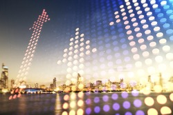 Double exposure of abstract virtual upward arrows hologram on Chicago city skyscrapers background. Ambition and challenge concept