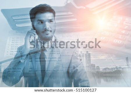 Double exposure of account book with pen,calculator and businessman for business or finance concept