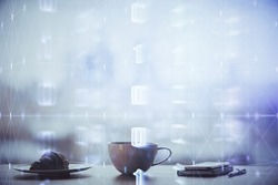 Double exposure of Ai data theme drawing over coffee cup background in office.