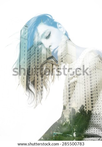 Double exposure of beautiful girl and modern buildings