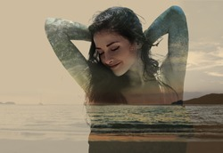 Double exposure of beautiful woman mixed with sunset nature and sea. Magic art toned portrait