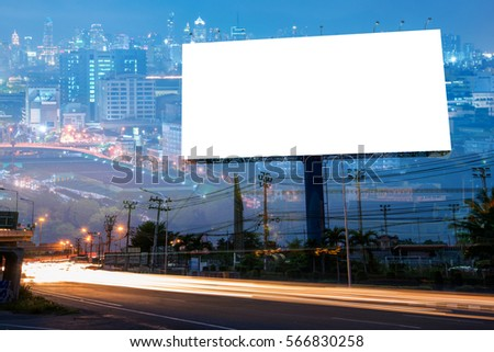 Double exposure of blank billboard for business advertisement with city background at twilight  - Shutterstock ID 566830258