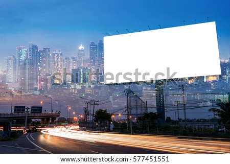 Double exposure of blank billboard for business advertisement with city background at twilight  - Shutterstock ID 577451551