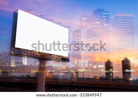 double exposure of blank billboard on city night