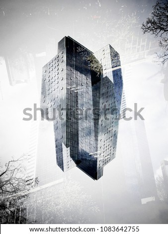 Double exposure of buildings of Frankfurt on Main makes weird pictures with strange structures