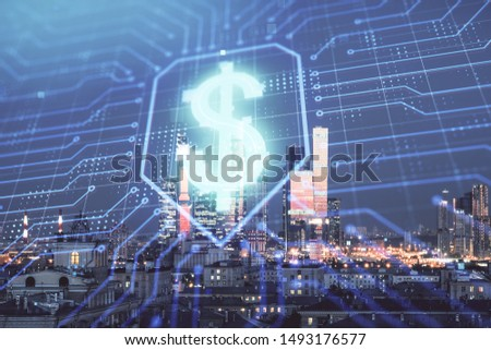Double exposure of business drawing hologram on cityscape background. #1493176577