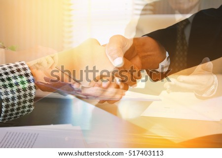 Double exposure of business in office . concept time to work