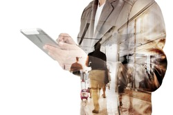 Double exposure of Business Man and Airport Terminal with People Walking and Shopping as Business Travel Concept