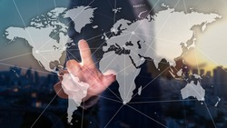 Double exposure of business man with worldmap, connection dots and city scape background. Globalization concept.