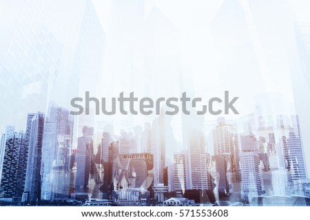 double exposure of business people walking on the street of modern city, urban lifestyle background