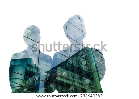 Double exposure of business person and cityscape.
