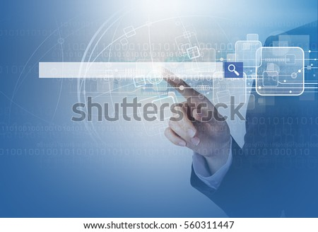 Double exposure of business woman hand touching blank search bar and technology design #560311447