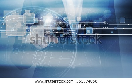 Double exposure of business woman hand touching technology design #561594058
