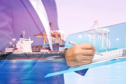 double exposure of Business woman inspect a document with blur ship and port at night