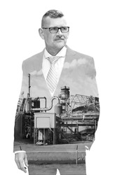 double exposure of businessman and factory