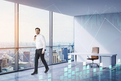 Double exposure of businessman, CEO walking at his modern panoramic office with New York Downtown cityview. Stock exchange rates forecasting and financial charts.