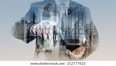 Double exposure of businessman hand showing leader on server background as concept