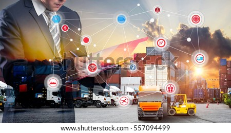 Shutterstock Double exposure of Businessman in a suit signing or writing a document in front Industrial Container Cargo freight ship, Map global logistics partnership connection of Container Cargo freight ship