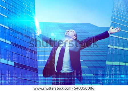 Double exposure of businessman relax after working with numbering. modern glass building background. Business concept.