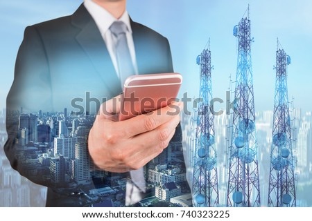 Double exposure of businessman use smartphone, communication tower or 4G 5G network telephone cellsite and cityscape urban background as business, technology and telecom concept