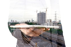 Double exposure of Businessman with Tablet and Modern City Building isolate on white as Business Technology Concept