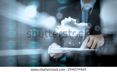 Double exposure of businessman working with digital tablet computer show social network structure and bokeh exposure #294079469