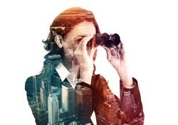 double exposure of businesswoman with binocular and megalopolis, colored effect
