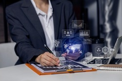 Double exposure of businesswoman working on digital smart phone with digital marketing virtual chart, Abstract icon, Business strategy concept. blurred background.