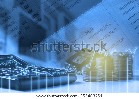 Double exposure of calculator,account book,bar,house and car key remote on finance and banking concept