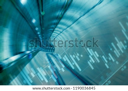 Double exposure of candlestick chart pattern for analyze stocks trading and the scene of inside the railway tunnel for financial and construction concept #1190036845