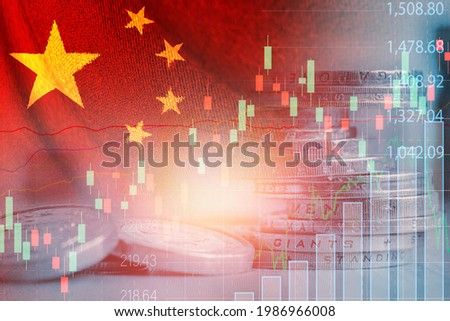 Double exposure of China flag on coins stacking and stock market graph chart .It is symbol of china high growth economy and technology.
