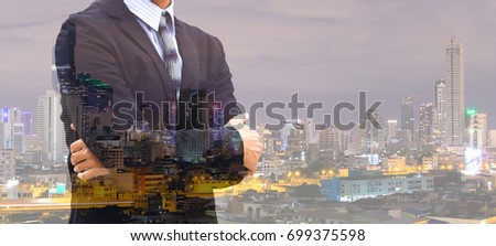 Double exposure of city and business man #699375598