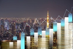 Double exposure of city night  and stack of coins for finance investor,   economic, line chart, bar graph,  Digital economy, technology, Industry, money.Financial investment concept.