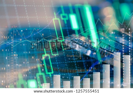 Double exposure of city night and stack of coins for finance investor, investment and banking concept , Forex trading candlestick chart, ECN Digital economy