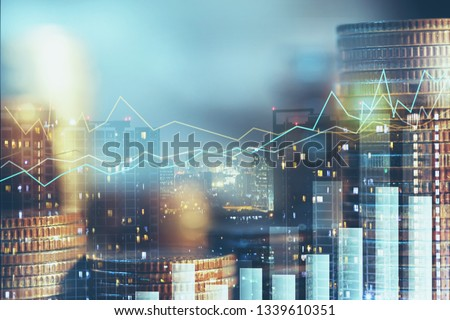 Double exposure of city night and stack of coins for finance investor, investment and banking concept , Forex trading candlestick chart, Digital economy , ECN digital economy