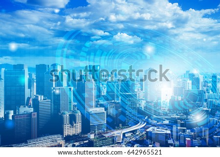 Double exposure of cityscape and business technology graphic design background #642965521