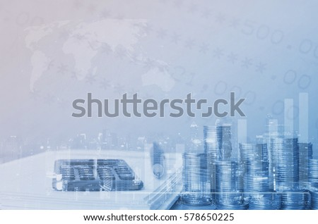 Double exposure of close up coins rows, calculator on notebook and city night in blue tone with copy space for finance and banking or speculate profit concept background