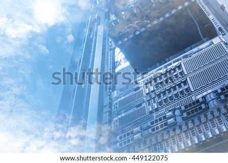 Double exposure of cloud and sky with servers computing technology in data center creative cloud concept #449122075