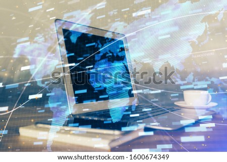 Double exposure of computer and technology theme drawing. Concept of innovation.