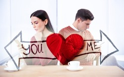 Double exposure of couple addicted to smartphones ignoring each other, red heart and arrows. Relationship problems