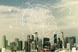 Double exposure of creative artificial Intelligence interface on Los Angeles city skyscrapers background. Neural networks and machine learning concept