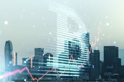 Double exposure of creative Bitcoin symbol hologram on Los Angeles office buildings background. Mining and blockchain concept