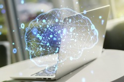 Double exposure of creative human brain microcircuit with computer on background. Future technology and AI concept