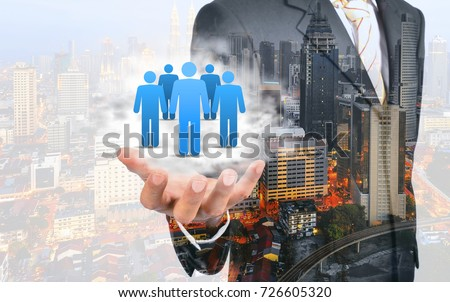 Double exposure of Customer care, care for employees, labor union, CRM, and life insurance concepts. Protecting gesture of businessman with icons representing group of people.   #726605320