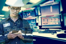 Double exposure of  Engineer or Technician man in working shirt  working with smart phone in control room of oil and gas platform or plant industrial for monitor process business industry 4.0 concept.
