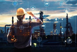 Double exposure of Engineer with oil refinery industry plant background,  industrial instruments in the factory and physical system icons concept, Industry 4.0 concept image