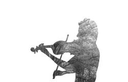 Double exposure of girl playing the violin and forest