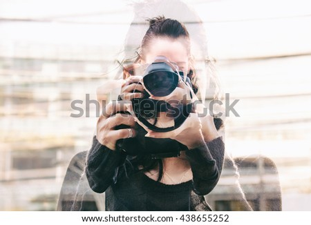 Double exposure of girl portrait taking photos