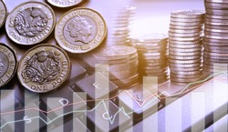 Double exposure of graph and row of coins and new pound couins for finance and banking concept